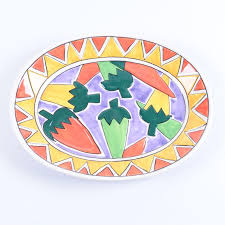 painted platter clay sizzling chilis painted platter ebth