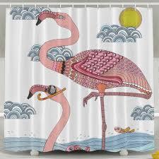 Flamingo Shower Curtains Animals Shower Curtains Flamingo Shower Curtain Fabric With