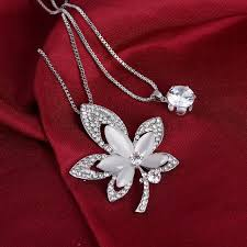 luxury silver necklace images Pretty leaves design silver chain necklace luxury simulated jpg