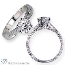 wedding ring engravings i how the diamond is low set in the band and the engraved