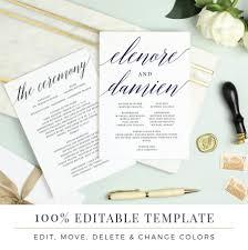 flat wedding programs wedding program template printable flat program sided