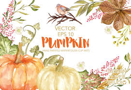 thanksgiving leaves clipart vector watercolor pumpkin clip arts autumn