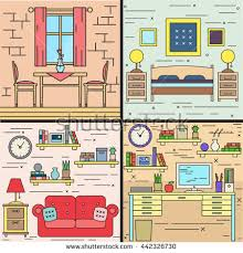 rooms in the house rooms house interior set dinning room stock vector 442326730