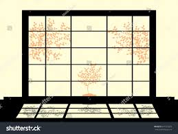 traditional shoji garden silhouette japanese style interior stock