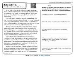 hide and seek 4th grade reading comprehension worksheet