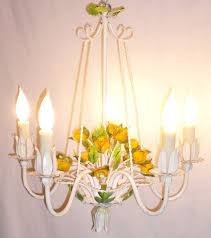 Tole Chandelier Gorgeous Vintage 1950s Yellow Rose Italian Tole Chandelier For