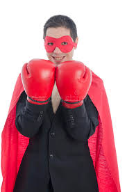 Boxer Halloween Costume Men Man Suit Red Boxing Gloves Red Cape Mask Stock Photo