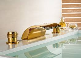 Gold Bathroom Faucet by Modern Gold Plate Bathroom Sink Faucet Dual Handles Mixer Tap