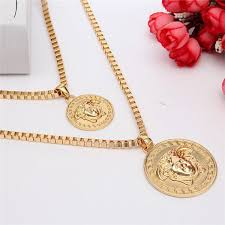 gold round necklace images Gold plated medusa head long chain round pendant necklace women jpg