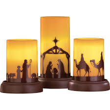 Outdoor Plastic Light Up Nativity Scene by Amazon Com Led Flameless Nativity Candles Set Of 3 Home U0026 Kitchen