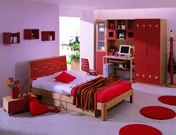 cute bedroom design for with purple wall paint color and red