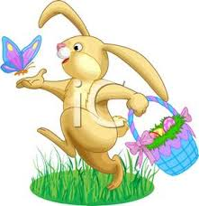 easter bunny baskets easter rabbit chasing a butterfly clipart image