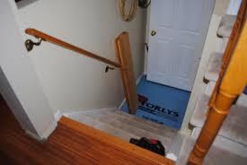 rustic maple basement stairway progress