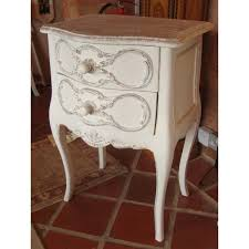 solid wood large bedside table with 2 drawers shabby chic french