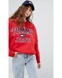 here u0027s a great deal on tommy jeans 90s capsule logo sweatshirt red