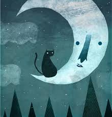 cat and the moon by cesarmanuel10 on deviantart