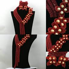 bridal beads necklace images Statement burgundy wine crystal african nigerian wedding party jpg