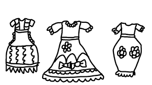 pretty dress coloring pages for kids to learn to color and paint