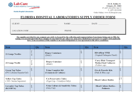 supply order forms lab care florida hospital labs