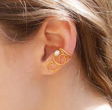 s ear cuffs gold swirl ear cuff with clear swarovski rhinestone