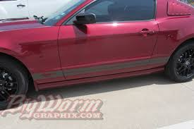 Black Mustang With Pink Stripes 2010 2014 Mustang Rocker Panel Stripes From Big Worm Graphix