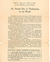 theodore heysham and annual day of thanksgiving for the world