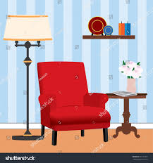 Small Table Lamp Next Red Living Room Next Small Stock Vector 591171632 Shutterstock