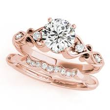 round setting rings images Round diamond heart engagement ring bridal set 18k rose gold 2 15ct jpg