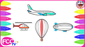 how to color u0026 learn to draw air transportation vehicles air