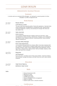 Sample Resume For Administrative Assistant Office Manager by Beauty Advisor Resume Samples Visualcv Resume Samples Database
