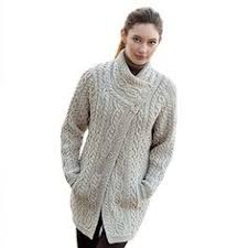 merino wool aran knit long sweater is soft and warm and made in