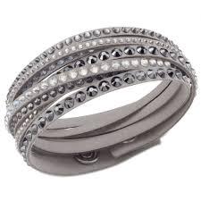 swarovski crystal leather bracelet images Swarovski slake deluxe grey fabric bracelet 5021033 bracelets jpg