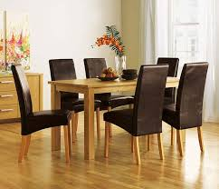 Wooden Table Chairs Elegant Small Dining Tables Sets With Black Leather Chair And