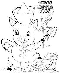 coloring sheet 3 pigs cartoon loving printable