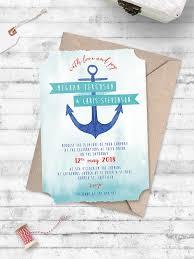 nautical themed wedding invitations watercolour anchor nautical wedding invitation anchor me