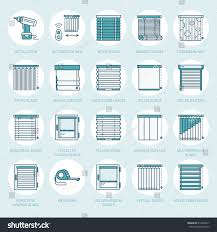 Roman Curtains Window Blinds Shades Line Icons Various Stock Vector 619404017