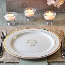 personalized wedding plate 10 in custom printed reusable gold trim plastic plates