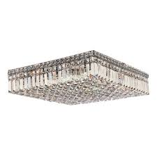 large flush mount ceiling light glam art deco style 12 light crystal chrome finish 20 inch square