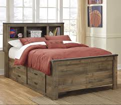 rustic look full bookcase bed with under bed storage by signature