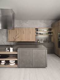 fitted kitchen with island without handles cloe composition 2 by