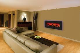 living room magnificent long silver electric fireplace under