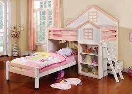 Loft Bed House WhitePink Twin  Twin Bunk Bed Bookcase Drawers - Pink bunk bed
