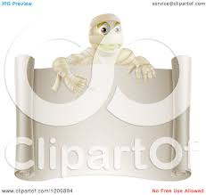cartoon of a happy halloween mummy pointing down to a blank scroll