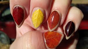 nail art diy fall nails easy autumn leaves design tutorial youtube