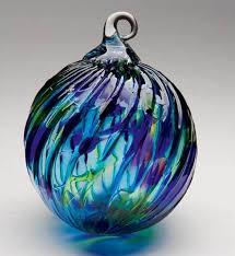 164l glass eye studio ornaments purple blue twist glass eye