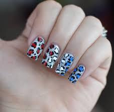red white u0026 blue cheetah glitter nails youtube
