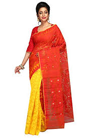 dhakai jamdani a r shop handloom dhakai jamdani cotton silk tant saree yellow