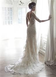 lace 3 4 sleeve wedding dress mermaid illusion neckine v back 3 4 sleeve lace wedding dress