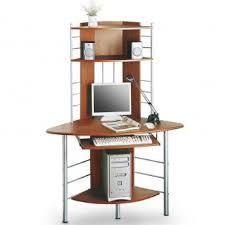 bureau ordinateur angle bureau informatique d angle avec tablette coulissante couleur noix