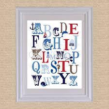 abc typography art print ocean nautical rwb 8x10 giclée art